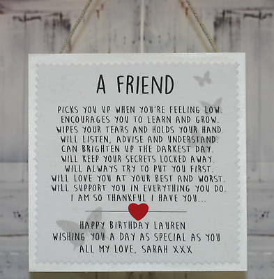 Personalised Best Friend Friendship 21st 30th 40th Birthday Plaque Card Gift