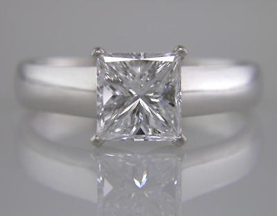 1.50ct GIA Certified D Colour Princess Cut Diamond Solitaire Ring in Platinum