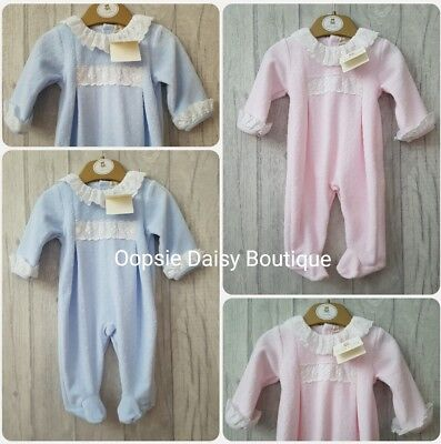SALE - Baby Boys Girls Spanish Velour Frill Collar/Sleeve Rompers Mintini Baby