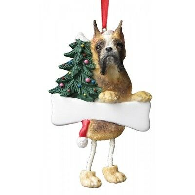 E&S Pets Dangling Legs Christmas Ornament NEW Dog BOXER CROPPED Puppy Holiday