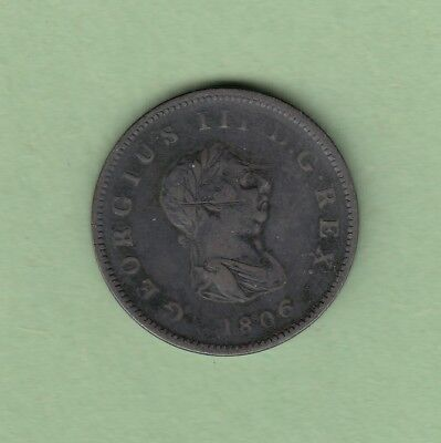 1806 Great Britain 1/2 Penny Coin - George III