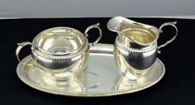 Gorham Sterling Silver Rope Band Creamer, Sugar & Tray 480 481 482