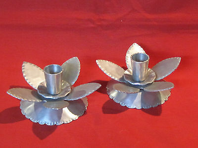 Vintage hand forged aluminum candlestick pair made by Everlast, flower design
