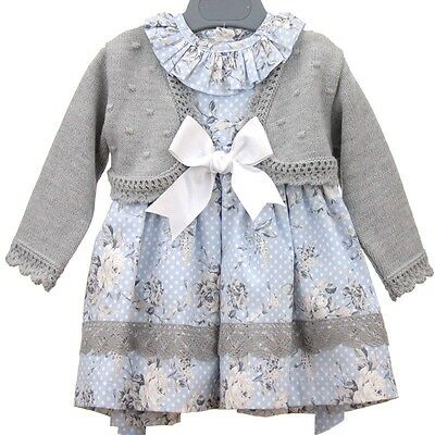New Winter Baby Girls Romany Spanish Blue Floral 2 Piece Dress Set  and cardigan