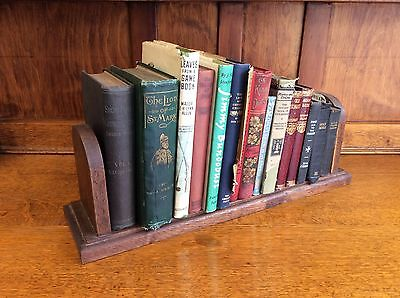 Small Vintage Oak Desk Top Book Rack