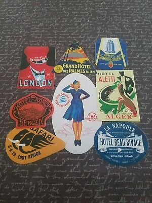 vintage hotel stickers - Scrapbooking, Travel, Airline, NEW