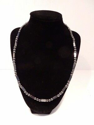 """Beautiful Hematite Magnetic Clasp 21 1/2"""" Beaded Necklace"""