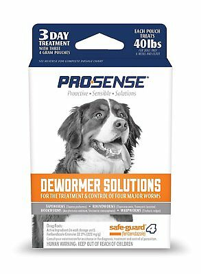 Pro-Sense DEWORMER SOLUTIONS 3 Day Treatment 40 lbs FOR DOGS Treatment Control