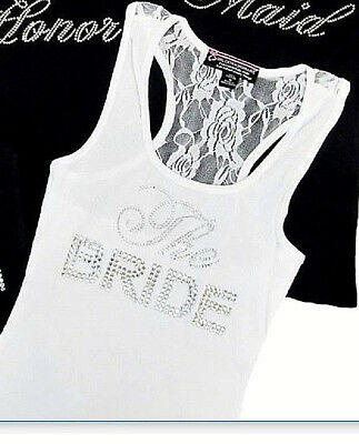 White THE BRIDE Lace Racerback Tank Top - Big Bling Rhinestones Factory Savings!