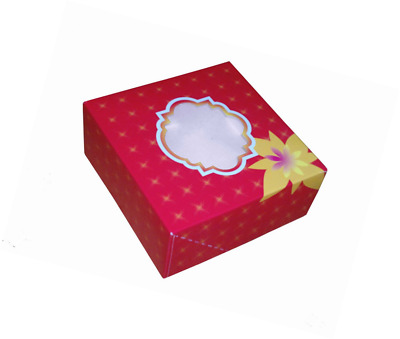 "10 Small Red 6"" x 6"" x 3"" Cake Box with Window"
