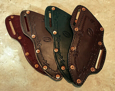 5 Knife Sheath Plain Brown Leather With Button Close And Belt Slot