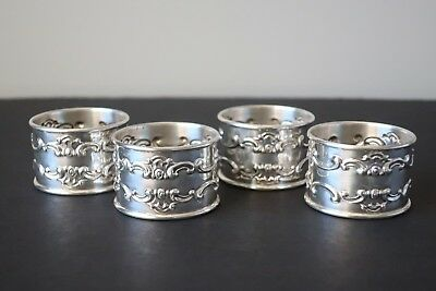 Gorham Strasbourg Sterling Silver Napkin Rings, Set of (4), No Monograms