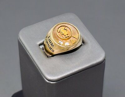Vintage 14k Gold Little Caesars Pizza Service Diamond Ring sz 8.25 HEAVY A29-536