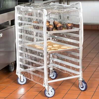 """33.75"""" Clear 8Mil Half-Size Plastic Bun Pan Rack Cover 3 Zippers Bakery Catering"""