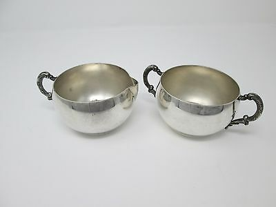 Rogers Silver Corporation Cream Pitcher and Sugar Bowl Set Vintage Silverplate