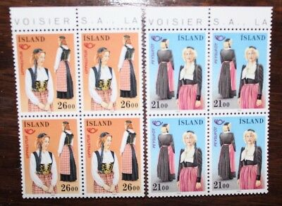 "Francobolli Stamps Iceland 1989 ""national Costumes"" Mnh** Block Of 4 Set (Cat.x)"