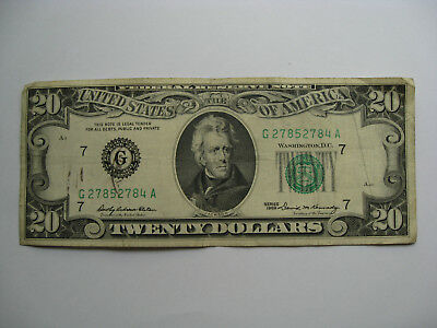 1969 series G Chicago $20 Dollar Federal Reserve Note Bill US Currency