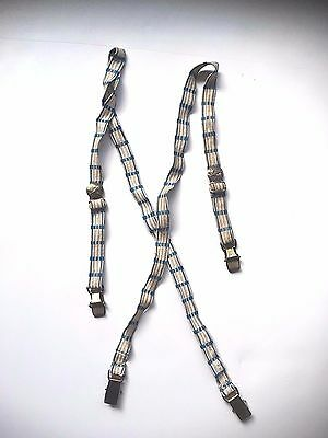 Vtg Boy's Blue & White Elastic Suspenders With Airplanes