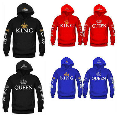 King And Queen Hoodies Valentine Multi Colors Matching Cute Love Couples Hot
