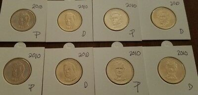 2010 P&D Set - 8 Coins -  Presidential Dollars - Brilliant Uncirculated