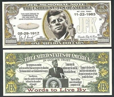 JFK Set of 100 with 1 Bonus Chris John F Kennedy Novelty Million Dollar Bill