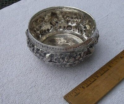 Vintage THAILAND Silver Small BOWL-Repousse Chased Figures & Trees-NR!