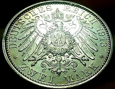 1913 -A German Empire Zwei 2 Mark Silver Coin aUnc frankyd360 #ch770