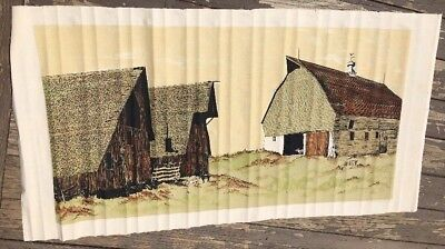 mid century textile art framed wall panel kit in package Barns  Frances Butler
