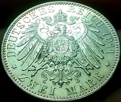1911-D German Empire Zwei 2 Mark Coin Silver aEF frankyd360 #ch772
