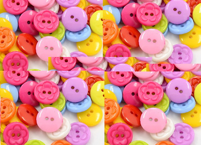 100 Acrylic Sewing Buttons Dyed, Flat Round with Flower Pattern, 25mm sewing