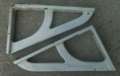 Pr Antique Cast Iron White Porcelain Sink Brackets Supports Vtg Braces