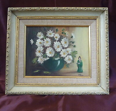 """Framed Oil Painting Floral Still Life Flowers """"An Arrangement of Daisies"""" Signed"""