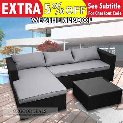 Outdoor Sofa With Coffee Table Wicker Rattan Corner Set Lounge Right Chase Grey
