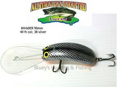 Australian Crafted Lures- cod 90mm invader Silver Carp col;38 40ft a.c.lures