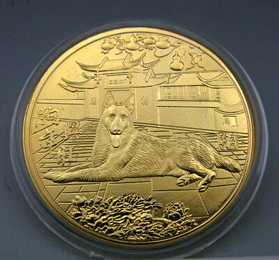 new 2018 Chinese Zodiac 24K Gold Colour Medal Coin--Year of the Dog