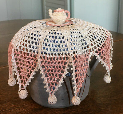 Crochet Milk Jug Cover with Teapot & Crochet Covered Beads - Vintage Style Cover