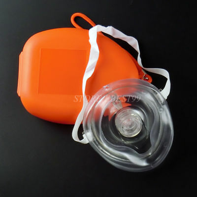 3 pcs CPR Mask AED First Aid Traning One Way Valve Filter CPR Pouch Mask Orange