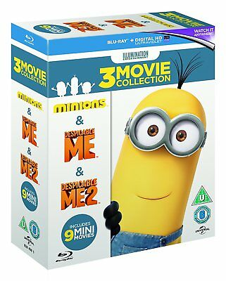 MINIONS 1-3 Collection 1 2 & 3 Movie Box Set NEW BLU-RAY Region Free