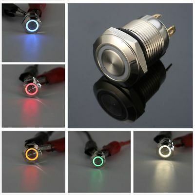 12V Fashion LED Light Metal Stainless Steel Momentary Push Button Switch 12mm