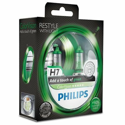 PHILIPS H7 Color Vision Green 12V 55W PX26d Car Headlights Bulb Twin 12972CVPGS2