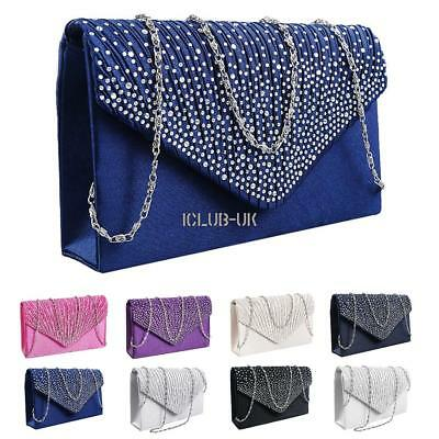 Women Wedding Evening Bridal Clutch Purse Metallic Party Handbag Crossbody Bag U