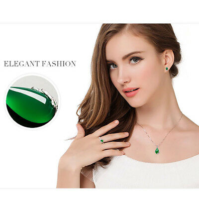 Fashion Women's  925 Silver plated Chain Crystal Chrysoprase Pendant  Necklace