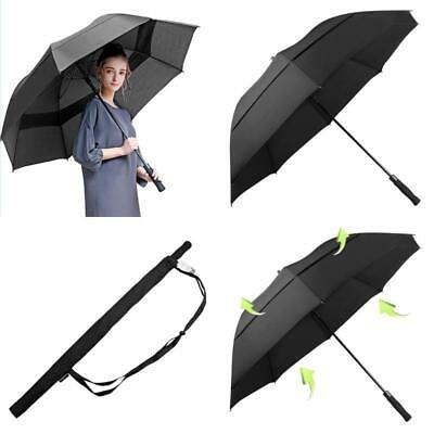 Golf Umbrella Windproof 68 in Oversize Double Canopy Vented Automatic Black