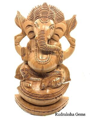 Ganesha Ganesh Ganpati Large Statue Rare Wooden Beautiful Blessed Hindu God 8""