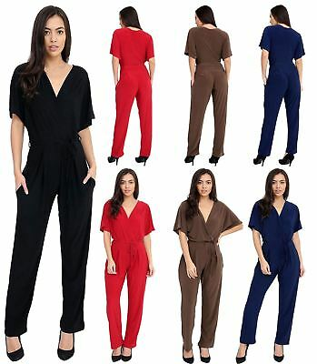 Wrap Over Tie Up Belted One Pieces Playsuit Womens Ladies Short Sleeve Jumpsuit