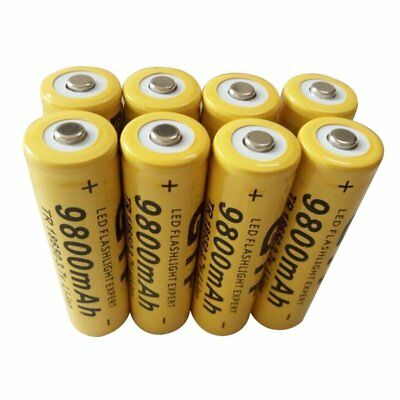 8pcs 18650 3.7V 9800mAh Yellow Li-ion Rechargeable Battery Cell For Torch USA C1