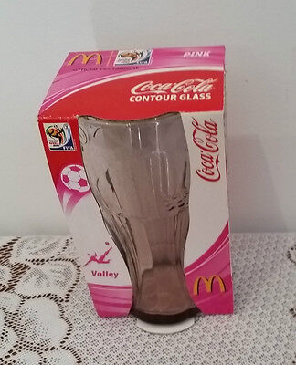 COKE COCA COLA South Africa FIFA 2010 PINK CONTOUR GLASS NEW IN PACKAGING
