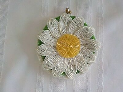 Vintage Delill Beaded Flower Change Purse Daisy White Yellow Green  Coin