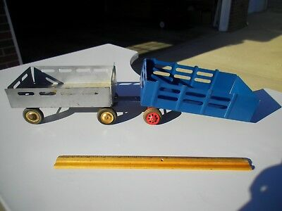 Two Vintage Marx Tandem Stake Bed Pressed Steel Toy Truck Trailers Excellent