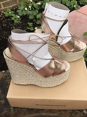 c23d8b91c Size 6 River Island Rose Gold Metallic Espadrille Platform Wedges Sandals  Heels